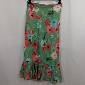 Green floral Cato Woman flowy maxi skirt
